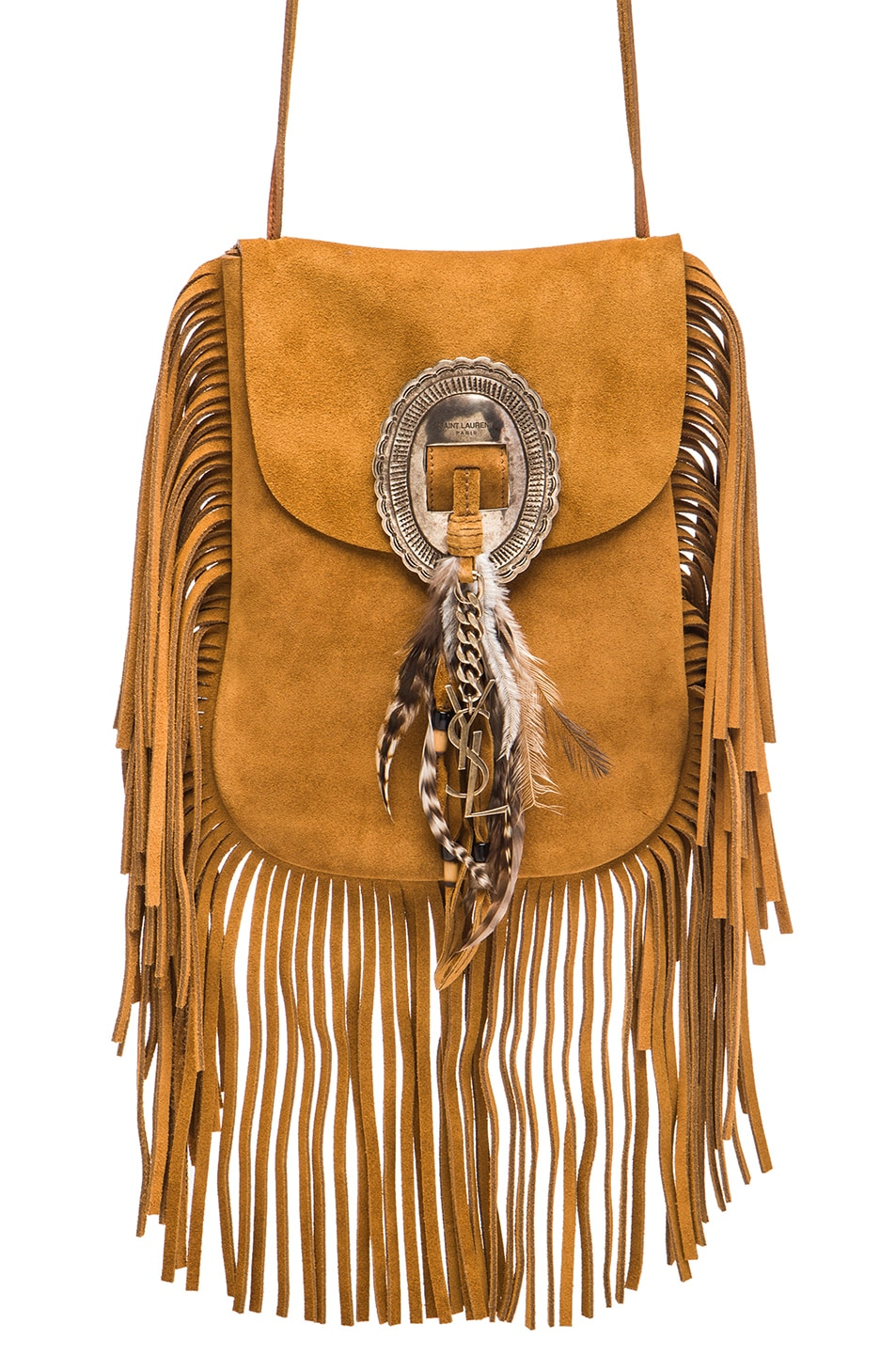 Saint Laurent Anita Bag with Feathers and Fringe in Chestnut ...