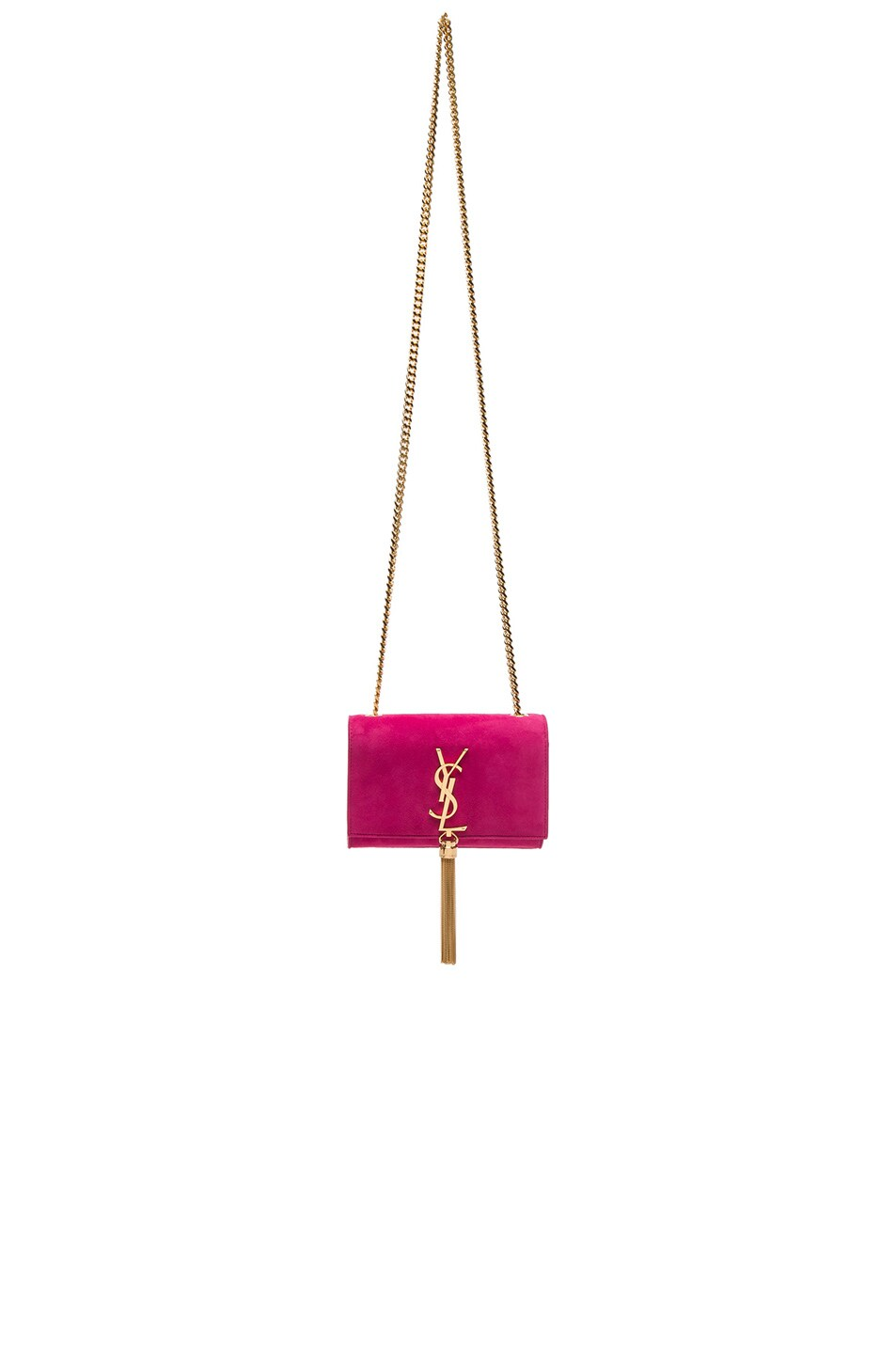 Saint Laurent Small Monogram Suede Chain Tassel Bag in Lipstick ...