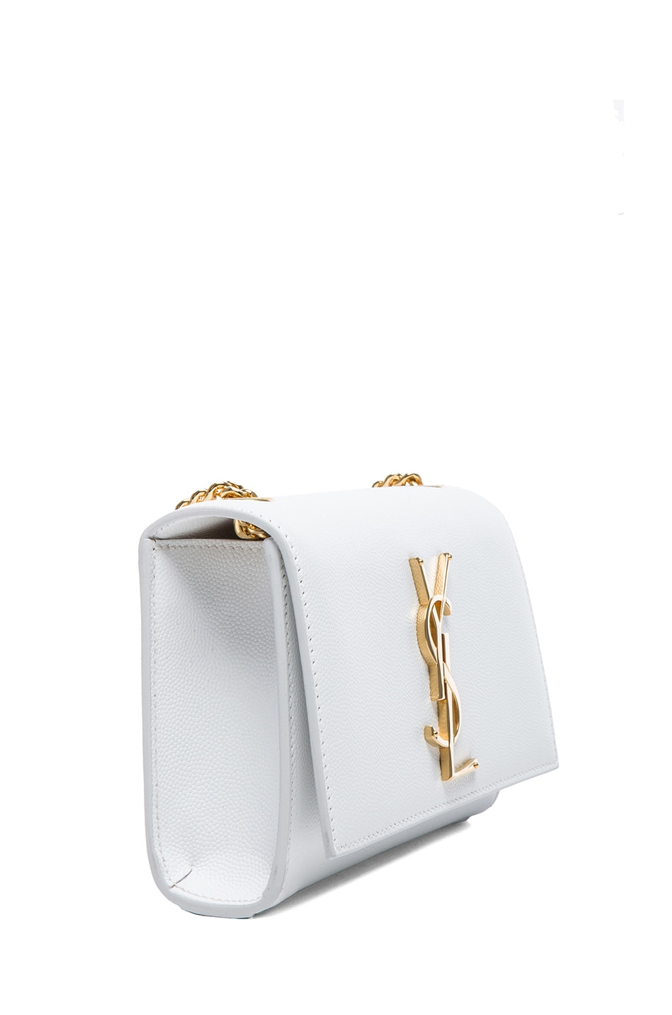 Image 3 of Saint Laurent Small Monogramme Chain Bag in Optic White
