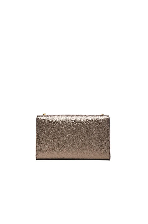 Classic Medium Monogram Saint Laurent Satchel In Pale Gold Grained Metallic Leather