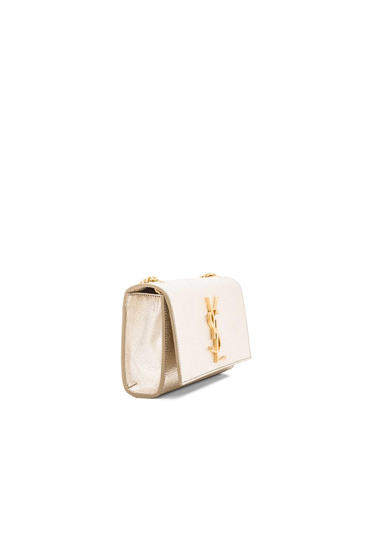 ac39faff6412c Saint Laurent Classic Monogram Saint Laurent Clutch In Pale Gold Grained  Metallic Leather