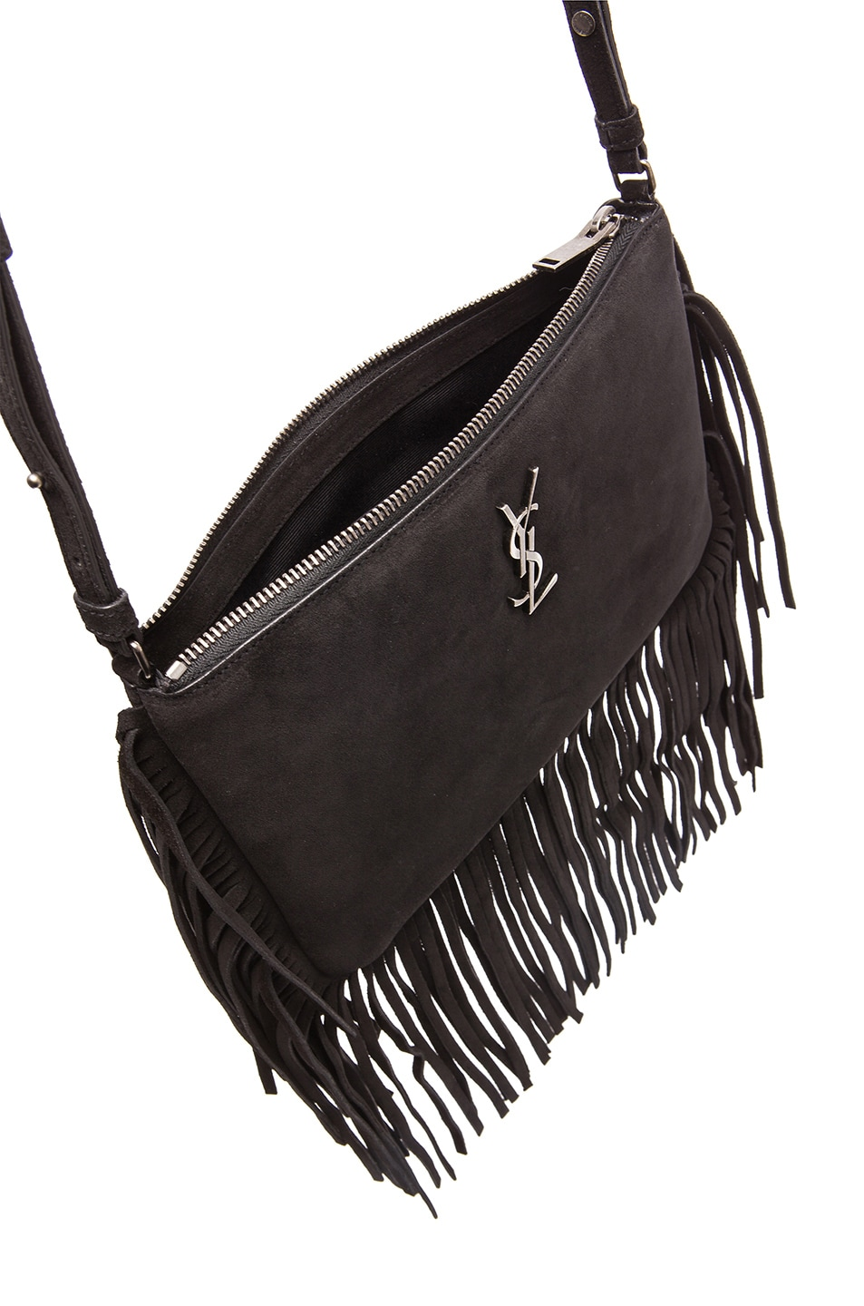 ysl cabas chyc shoulder bag - monogram suede fringe-edge crossbody bag, black