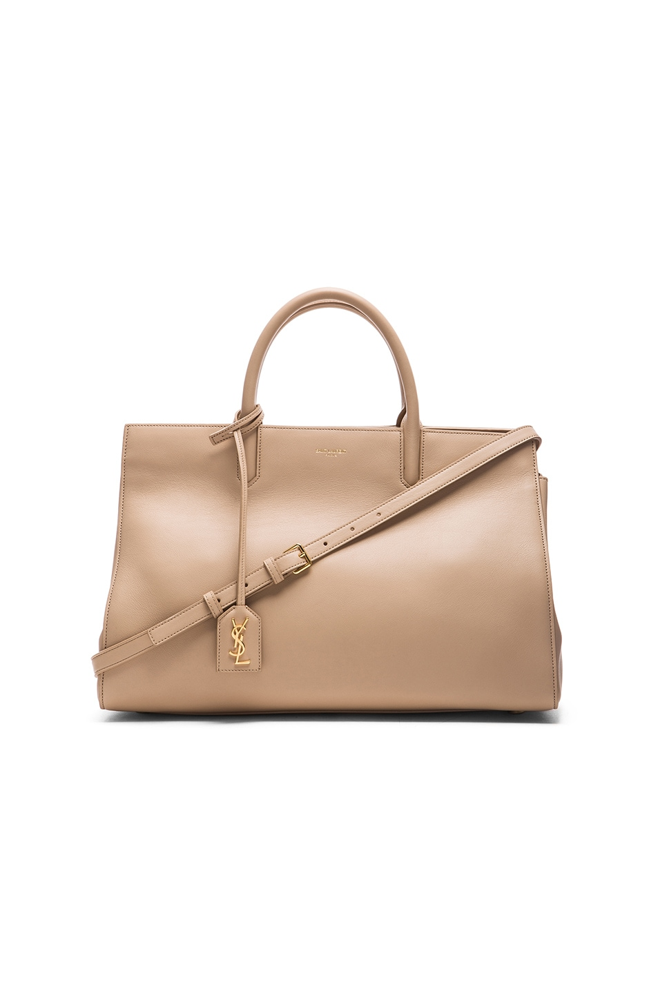 Small Cabas Rive Gauche Bag In Beige Grained Leather