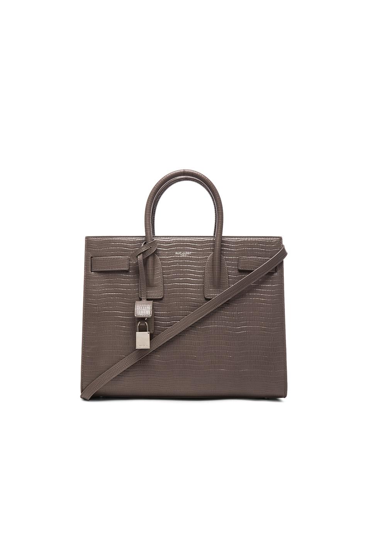fff23714bb84 SAINT LAURENT Classic Small Sac De Jour Bag In Fog Crocodile ... classic small  sac de jour bag in fog crocodile embossed leather