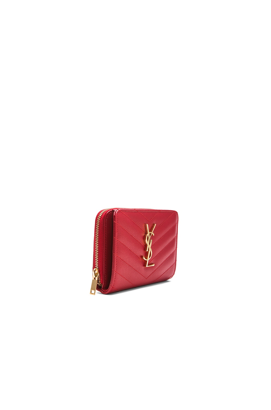 Saint Laurent Monogram Compact Zip Around Wallet in New Red | FWRD