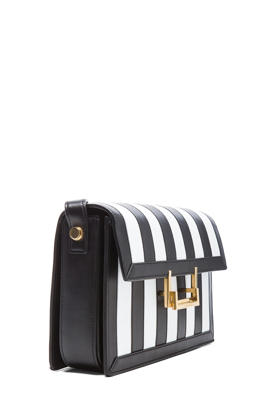 Saint Laurent Medium Lulu Striped Satchel in BLack  u0026amp  White  77322702d791a