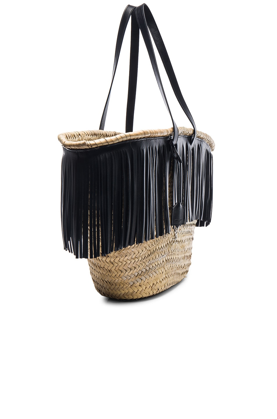 Saint laurent panier large basket bag in natural black fwrd - Diametre panier basket ...