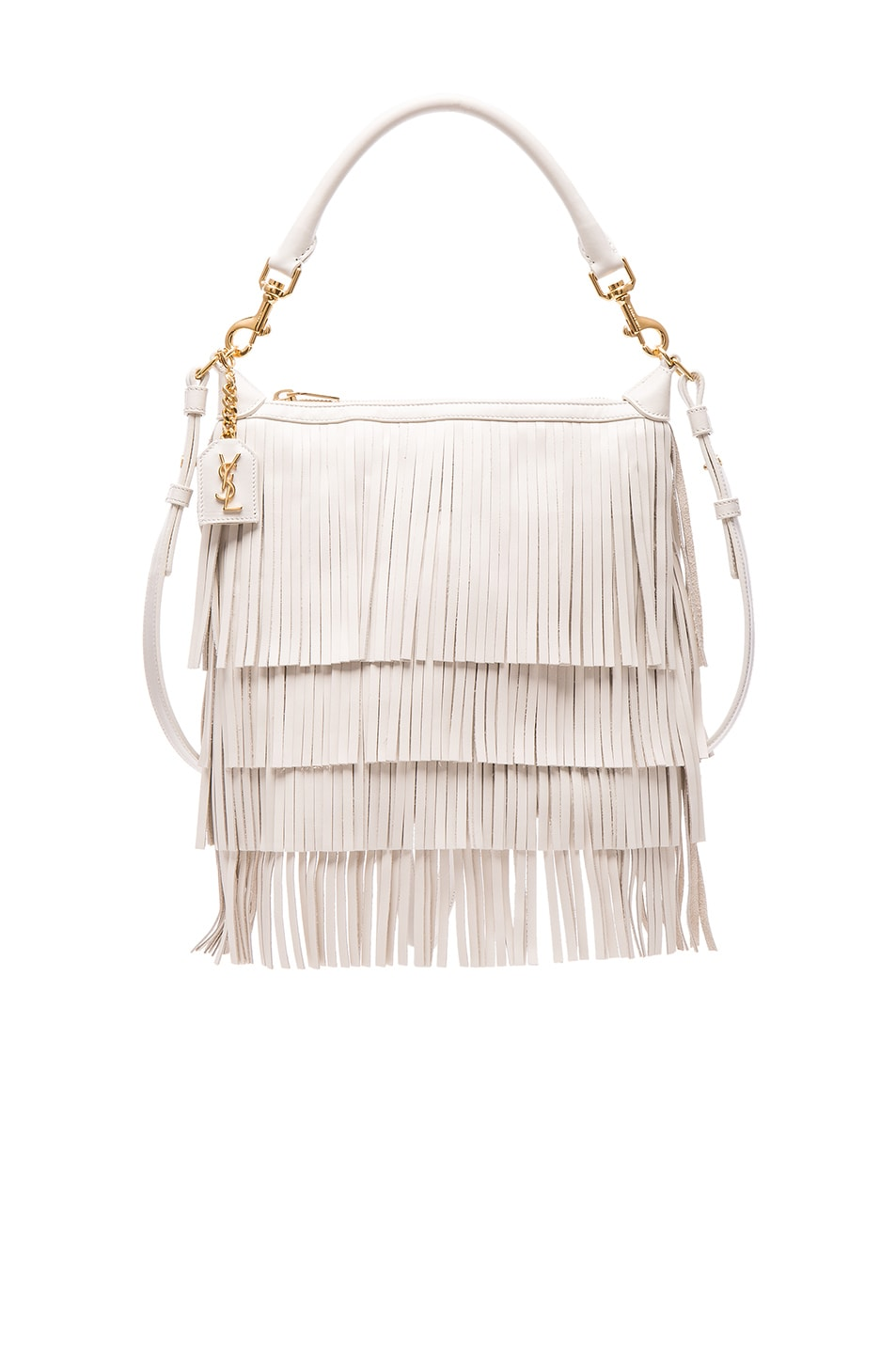 ysl designer bags - emmanuelle small leather fringe hobo bag, white