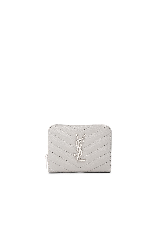 SAINT LAURENT Monogram Quilted Compact Zip Wallet