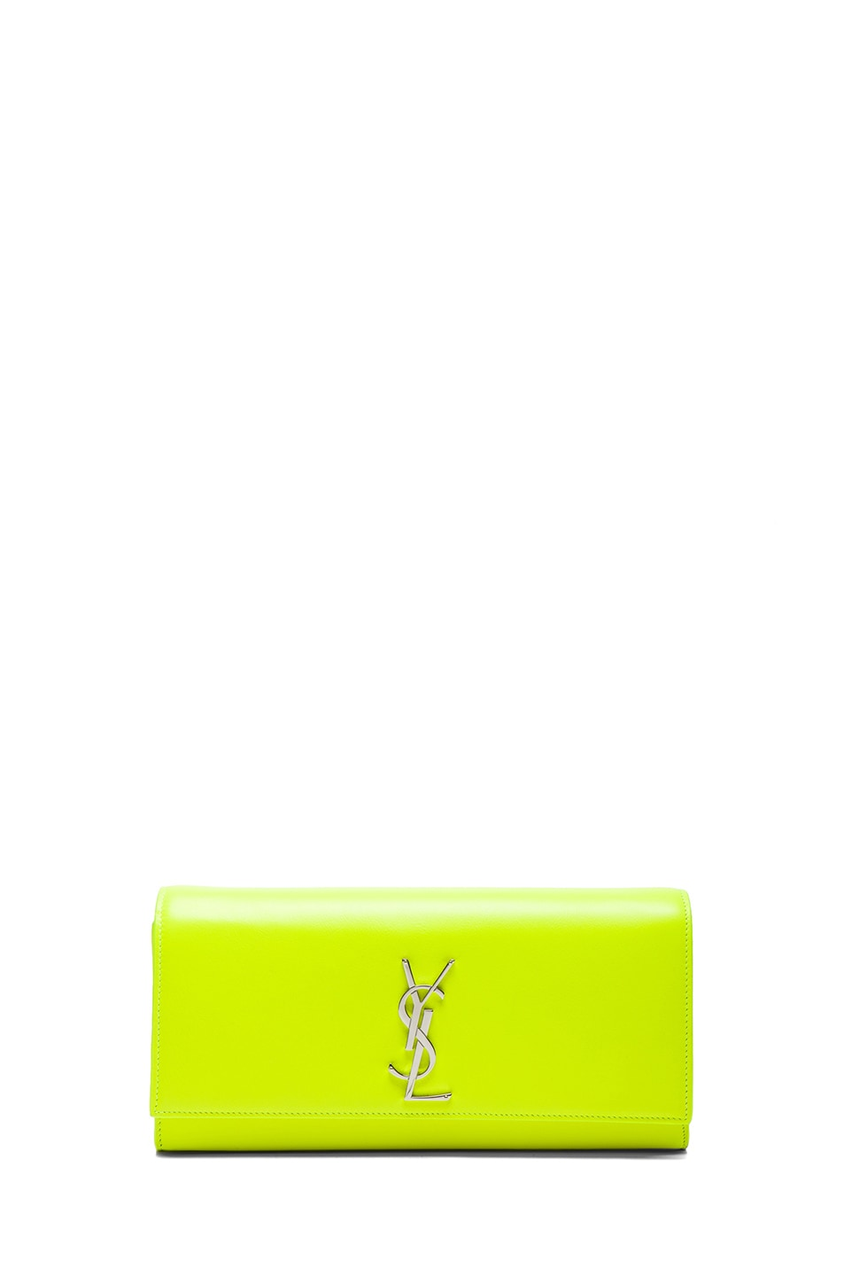 Image 1 of Saint Laurent Monogramme Clutch in Neon Yellow