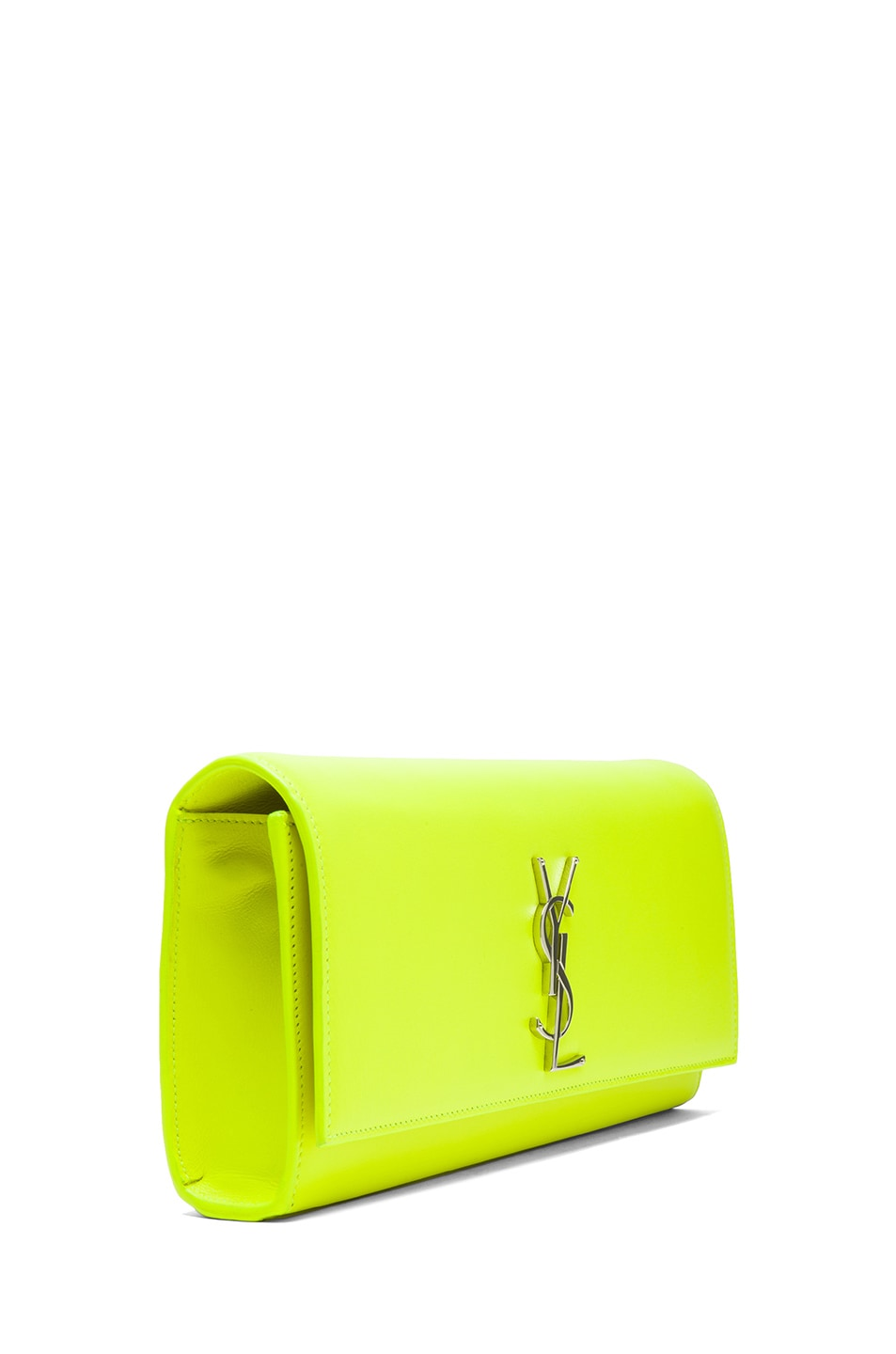 Image 3 of Saint Laurent Monogramme Clutch in Neon Yellow