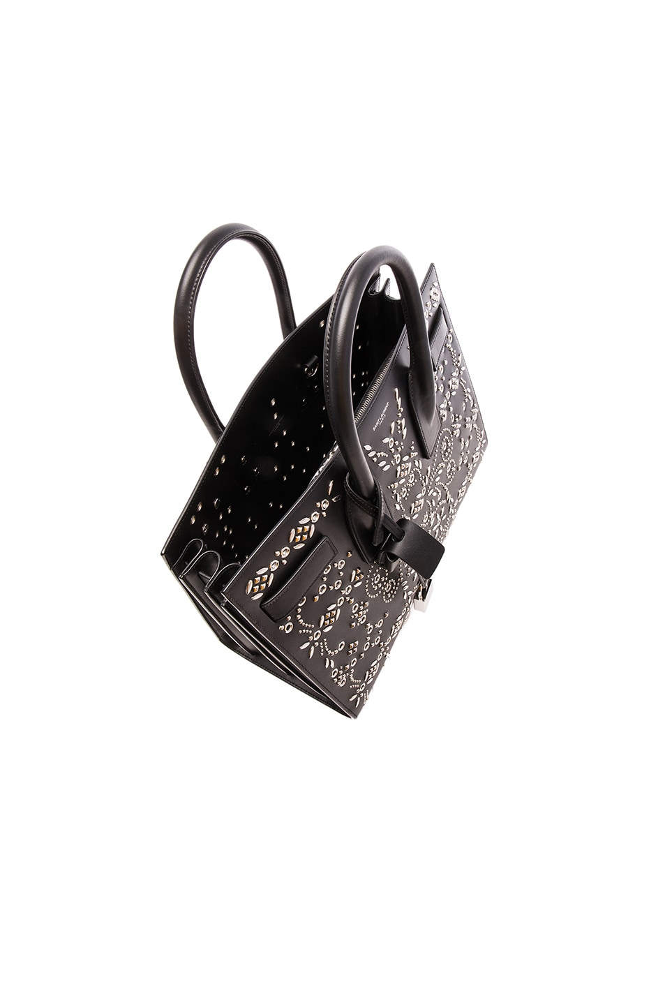 Saint Laurent Small Bandana Embroidery Sac De Jour in Black | FWRD