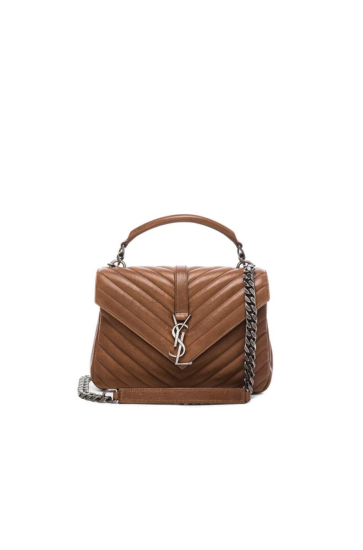 Monogram Fringe College Suede Shoulder Bag Dark Brown