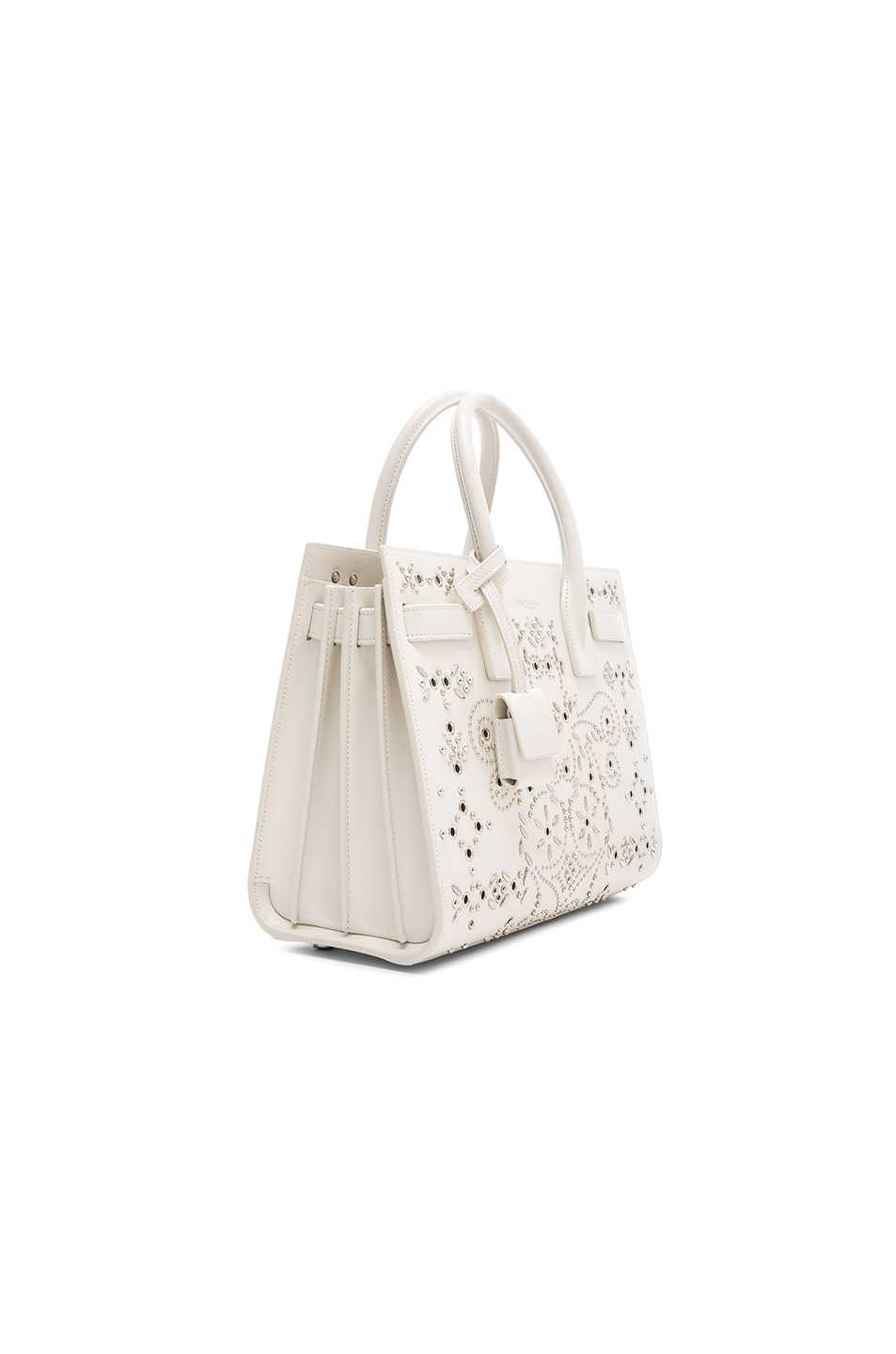 Saint Laurent Baby Bandana Embroidery Sac De Jour Bag in White | FWRD