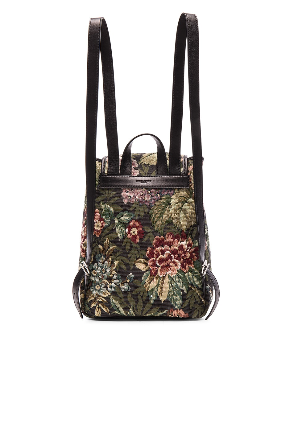 Image 3 of Saint Laurent Small Floral Tapestry Festival Backpack in Black & Multi