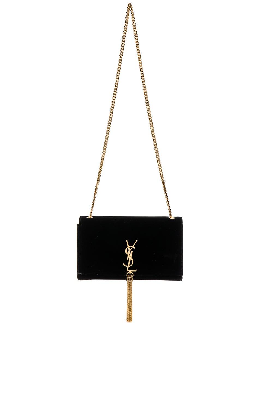 Image 1 of Saint Laurent Velvet Monogram Chain Bag in Black