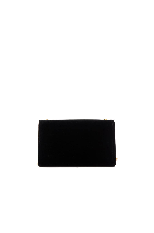 Image 3 of Saint Laurent Velvet Monogram Chain Bag in Black
