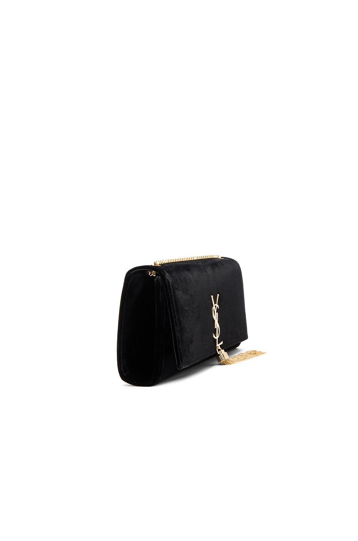 Image 4 of Saint Laurent Velvet Monogram Chain Bag in Black