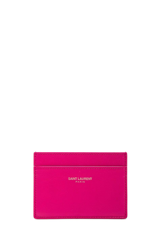 Image 1 of Saint Laurent Credit Card Case in Lipstick Fuchsia