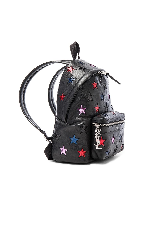 Image 3 of Saint Laurent City Mini Star Backpack in Black & Multi Color