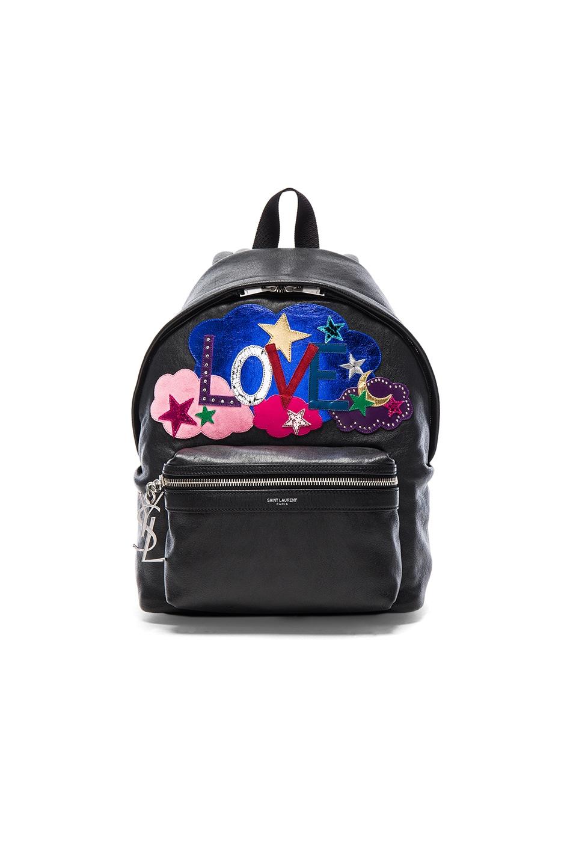 Image 1 of Saint Laurent City Mini Love Backpack in Black & Multi Color