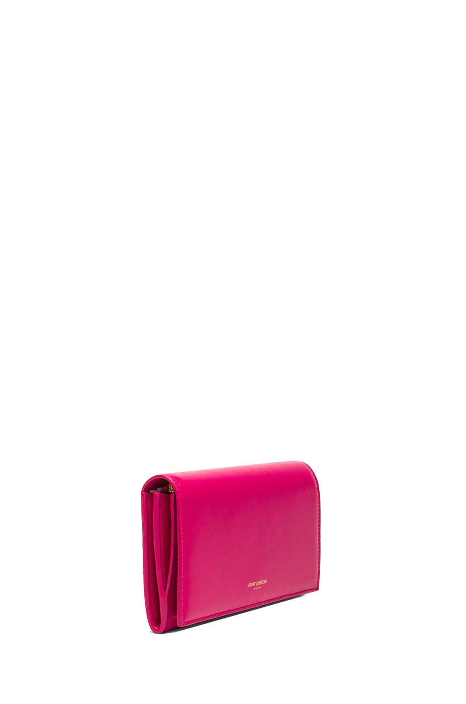 Image 3 of Saint Laurent Large Flap Wallet in Lipstick Fuchsia