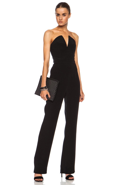 Image 2 of Saint Laurent Paris Studded Zip Clutch in Black