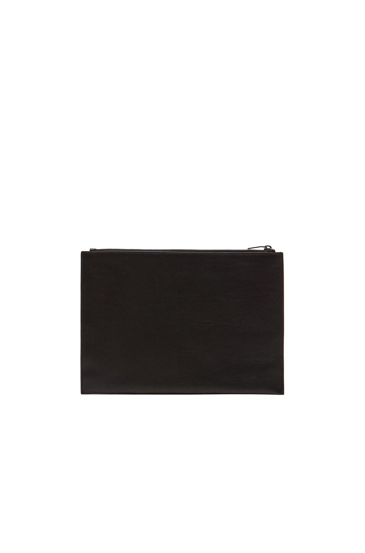 Image 3 of Saint Laurent Paris Studded Zip Clutch in Black