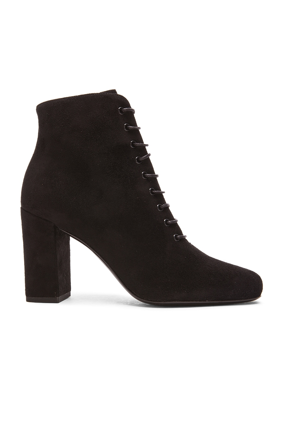 Image 1 of Saint Laurent Suede Lace Up Babies Boots in Black