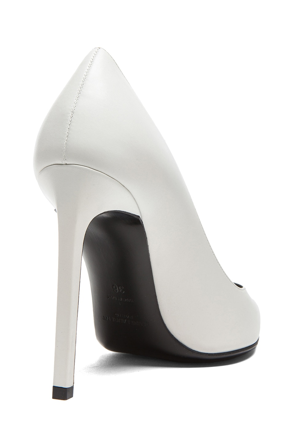 Image 3 of Saint Laurent Paris Calfskin Leather Pumps in White
