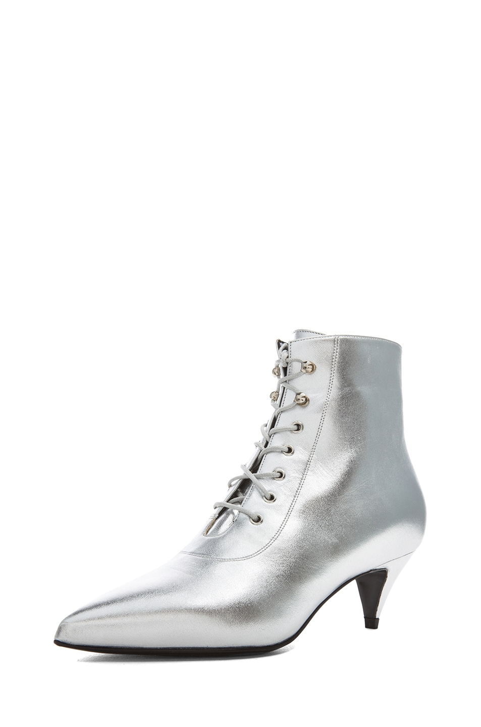 Image 2 of Saint Laurent Cat Lambskin Leather Booties in Silver