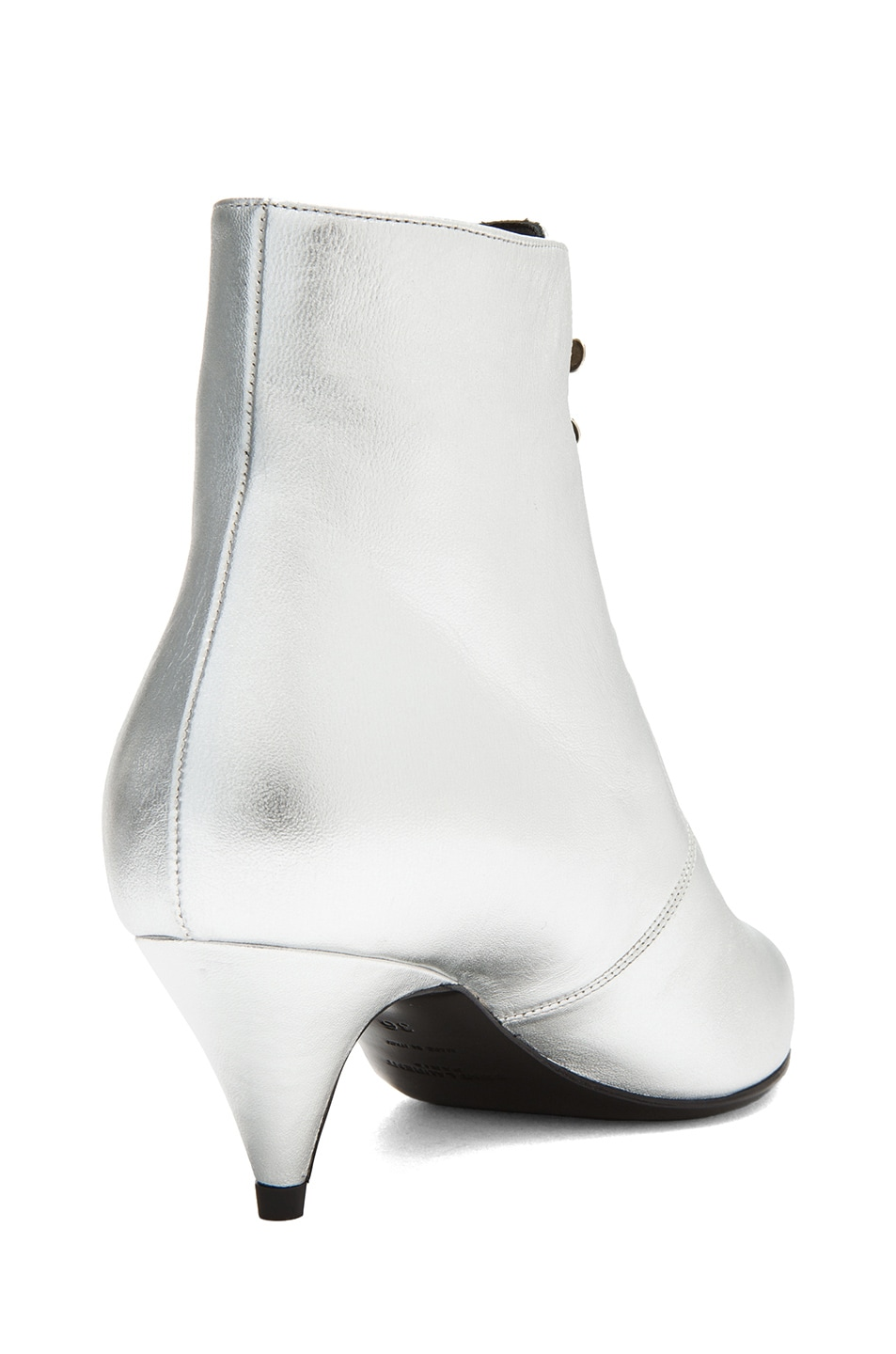 Image 3 of Saint Laurent Cat Lambskin Leather Booties in Silver