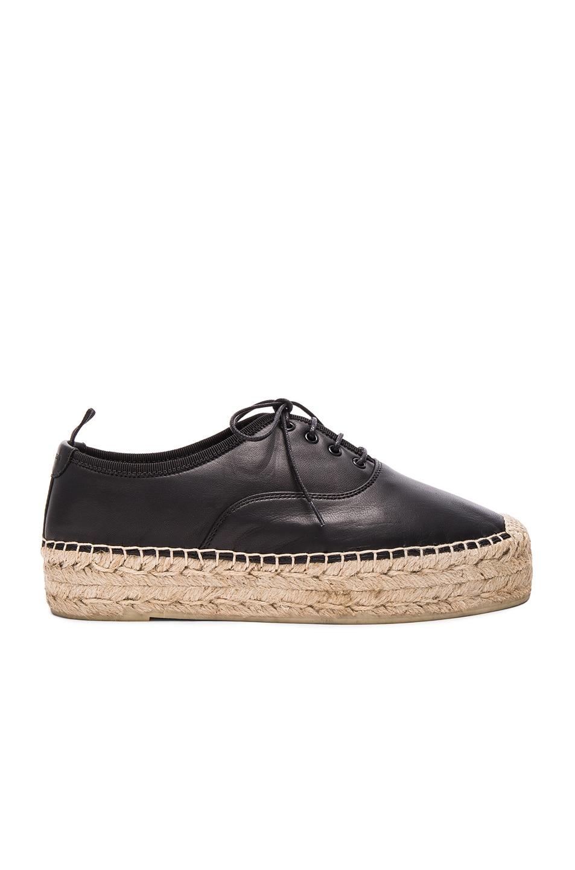 Image 1 of Saint Laurent Matte Leather Espadrille Shoes in Black