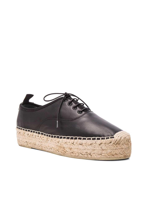 Image 2 of Saint Laurent Matte Leather Espadrille Shoes in Black