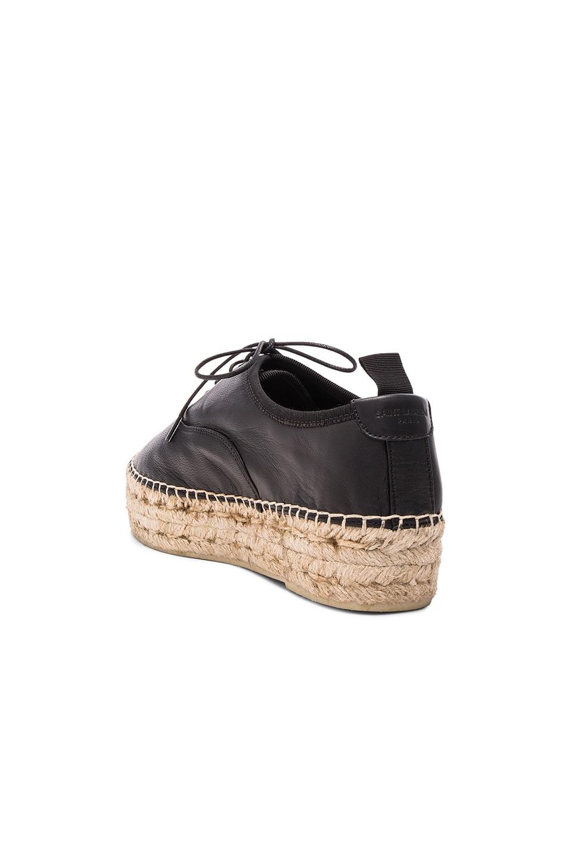 Image 3 of Saint Laurent Matte Leather Espadrille Shoes in Black
