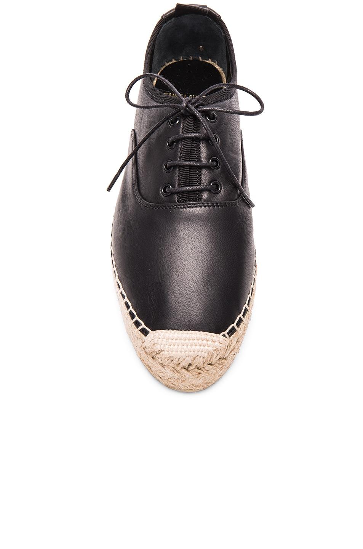 Image 4 of Saint Laurent Matte Leather Espadrille Shoes in Black