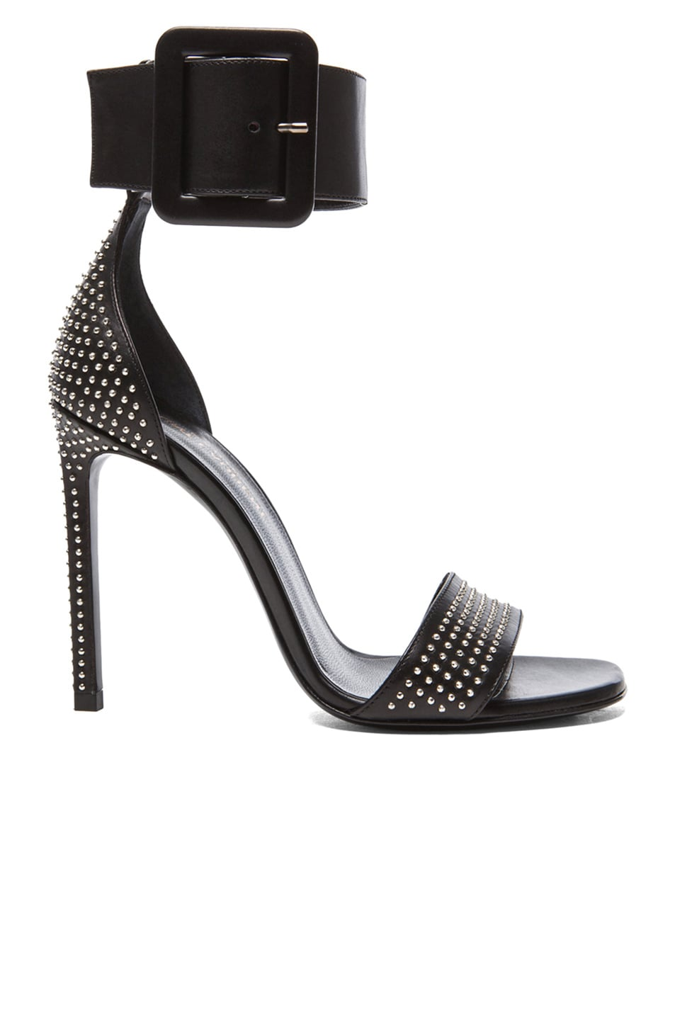 Image 1 of Saint Laurent Jane Studded Calfskin Leather Ankle Strap Heels in Black & Palladium