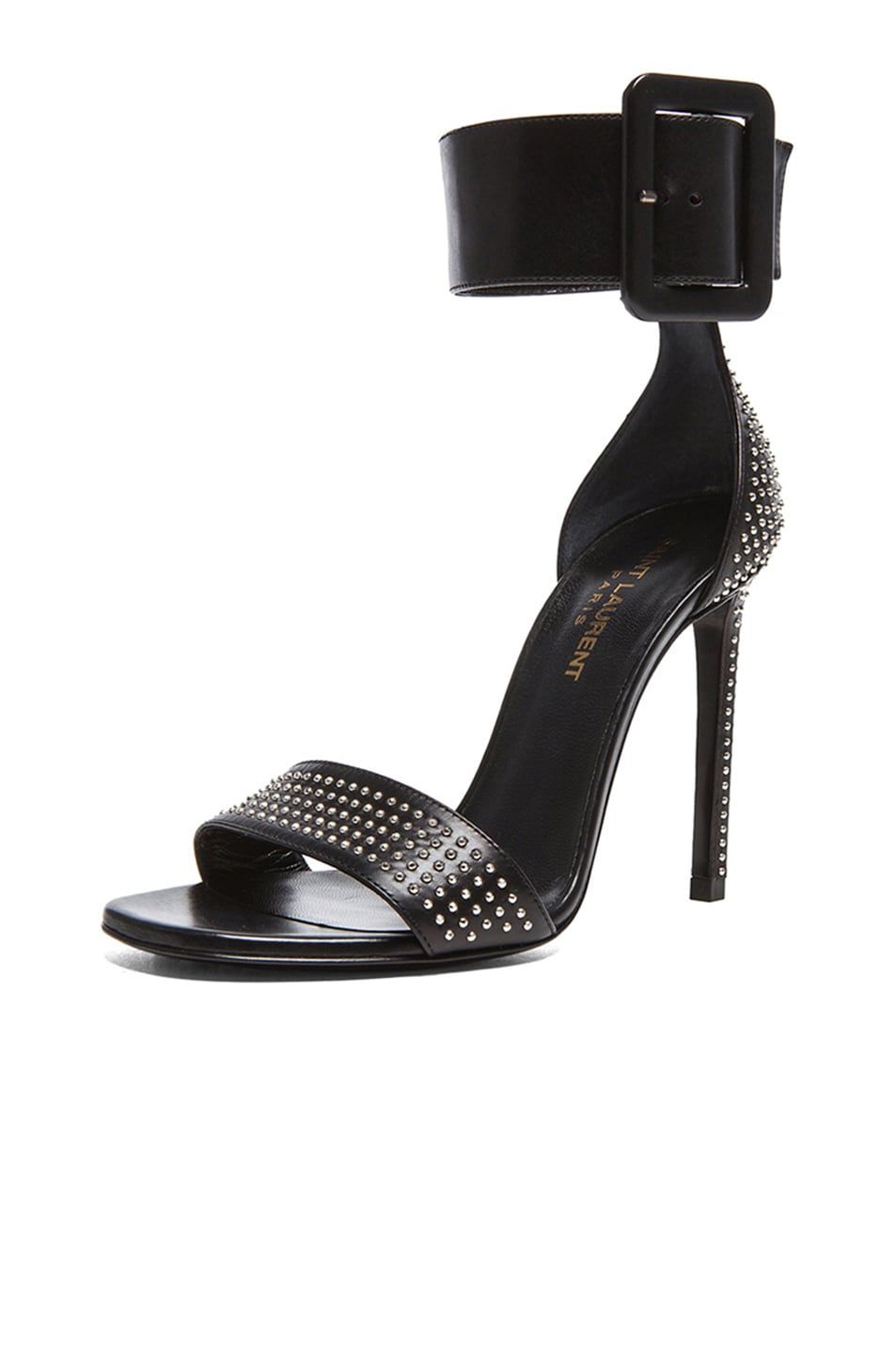 Image 2 of Saint Laurent Jane Studded Calfskin Leather Ankle Strap Heels in Black & Palladium