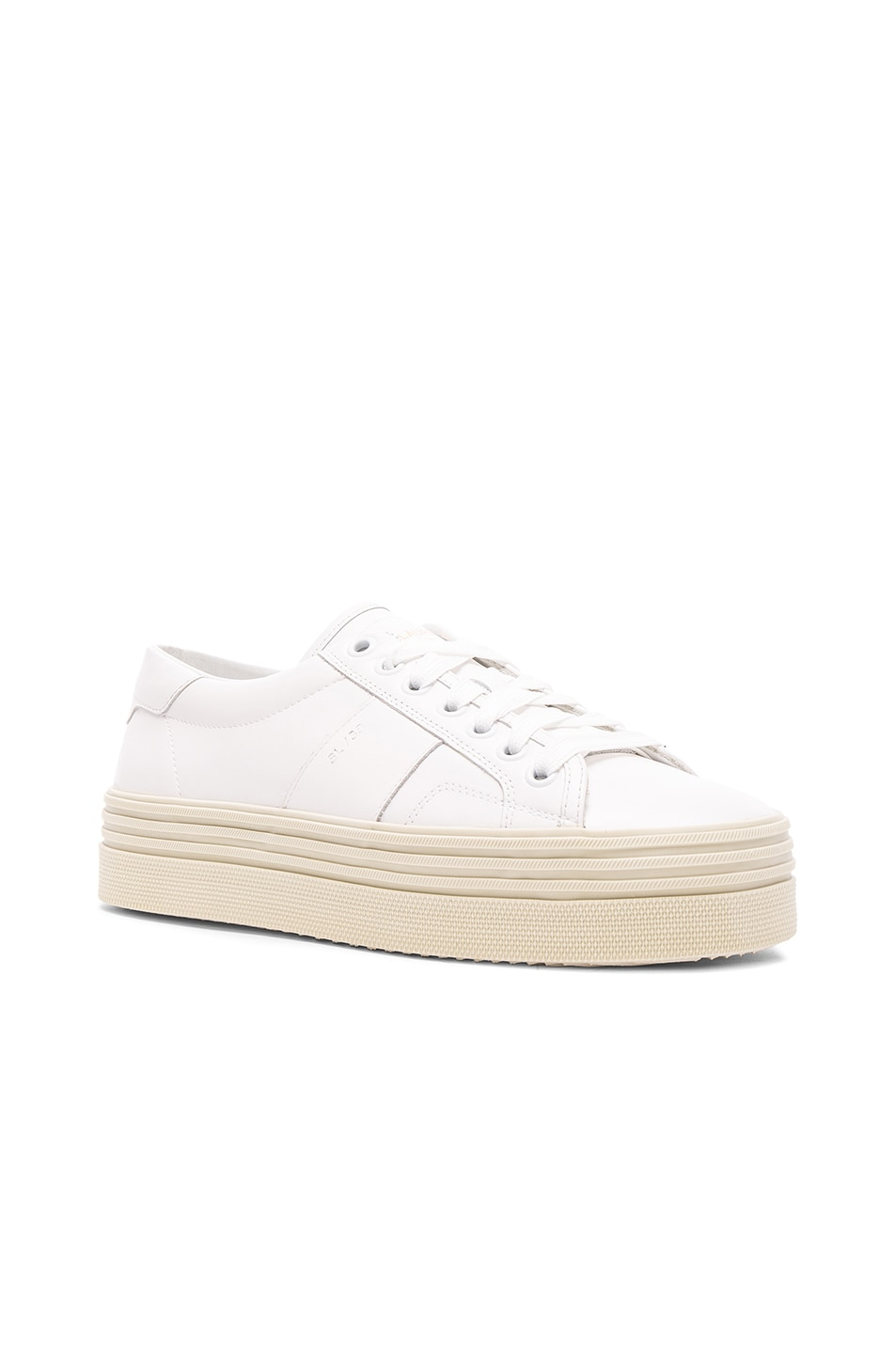 Image 2 of Saint Laurent Leather Court Classic Platform Sneakers in Off White