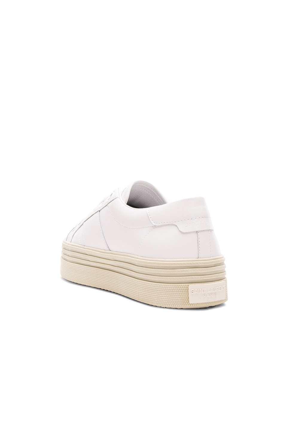 Image 3 of Saint Laurent Leather Court Classic Platform Sneakers in Off White