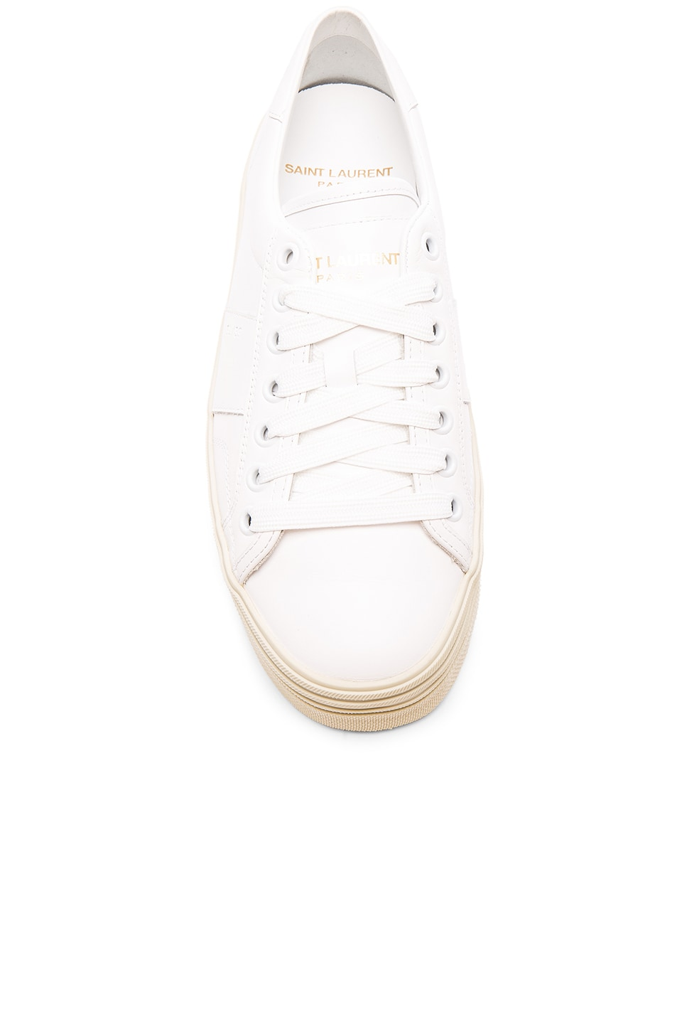 Image 4 of Saint Laurent Leather Court Classic Platform Sneakers in Off White