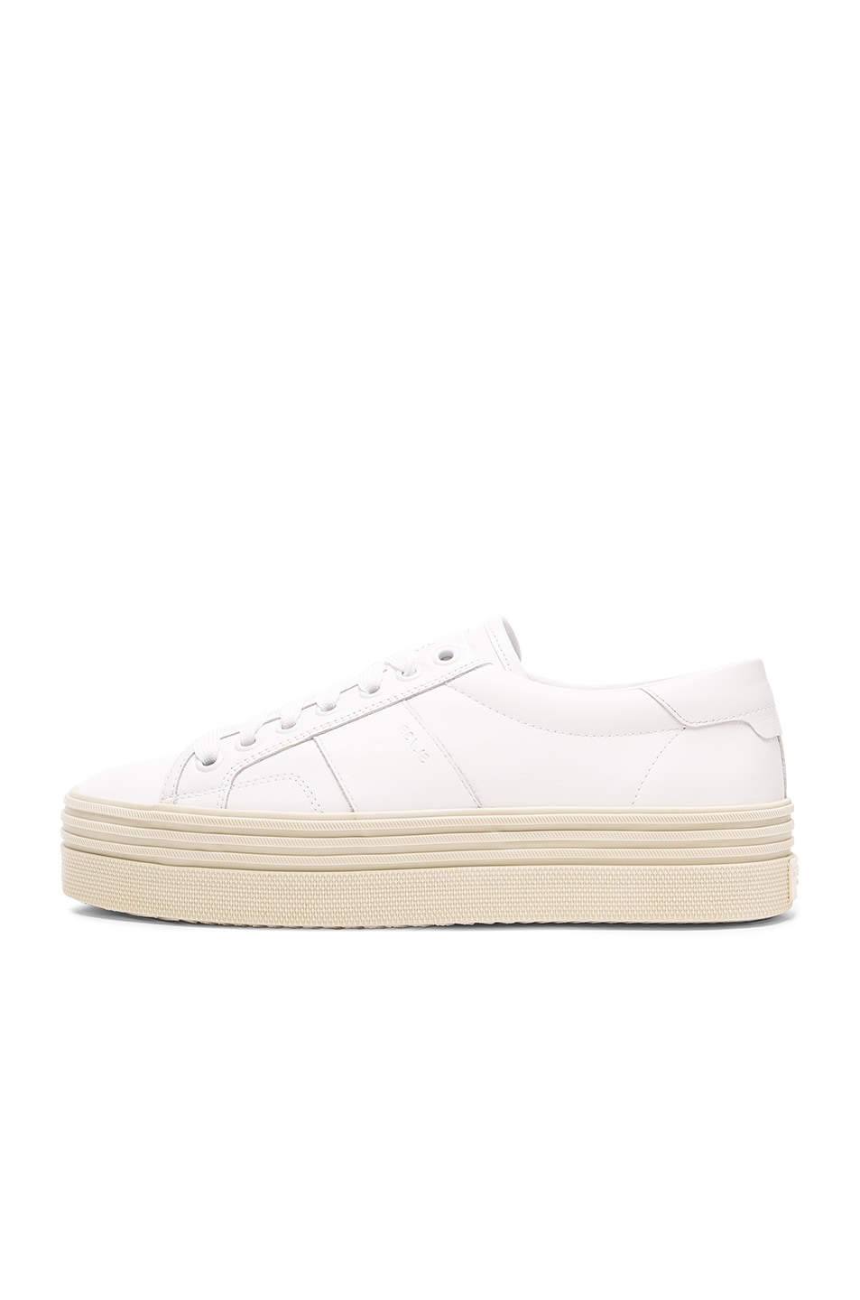 Image 5 of Saint Laurent Leather Court Classic Platform Sneakers in Off White