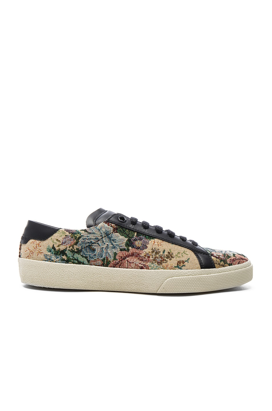 Image 1 of Saint Laurent Court Classic Floral Tapestry Sneakers in Black & Multi