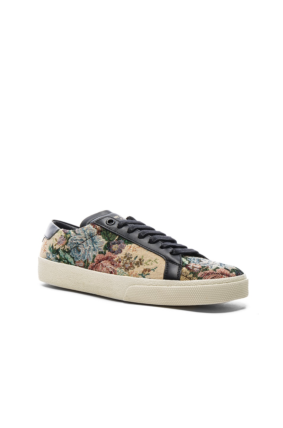 Image 2 of Saint Laurent Court Classic Floral Tapestry Sneakers in Black & Multi