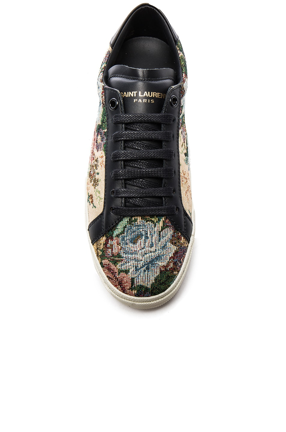 Image 4 of Saint Laurent Court Classic Floral Tapestry Sneakers in Black & Multi