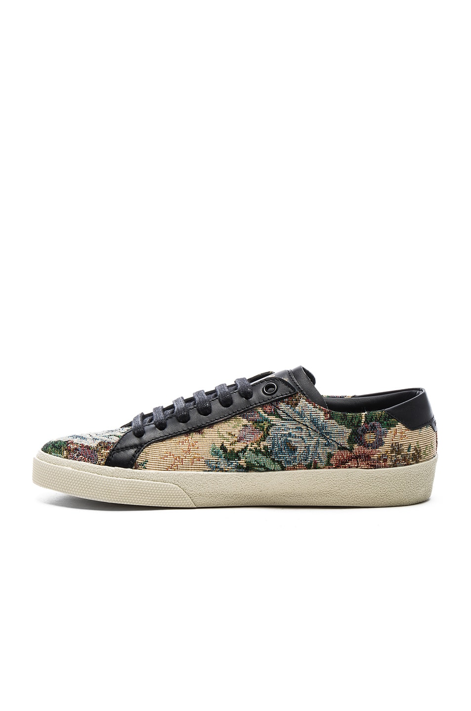 Image 5 of Saint Laurent Court Classic Floral Tapestry Sneakers in Black & Multi