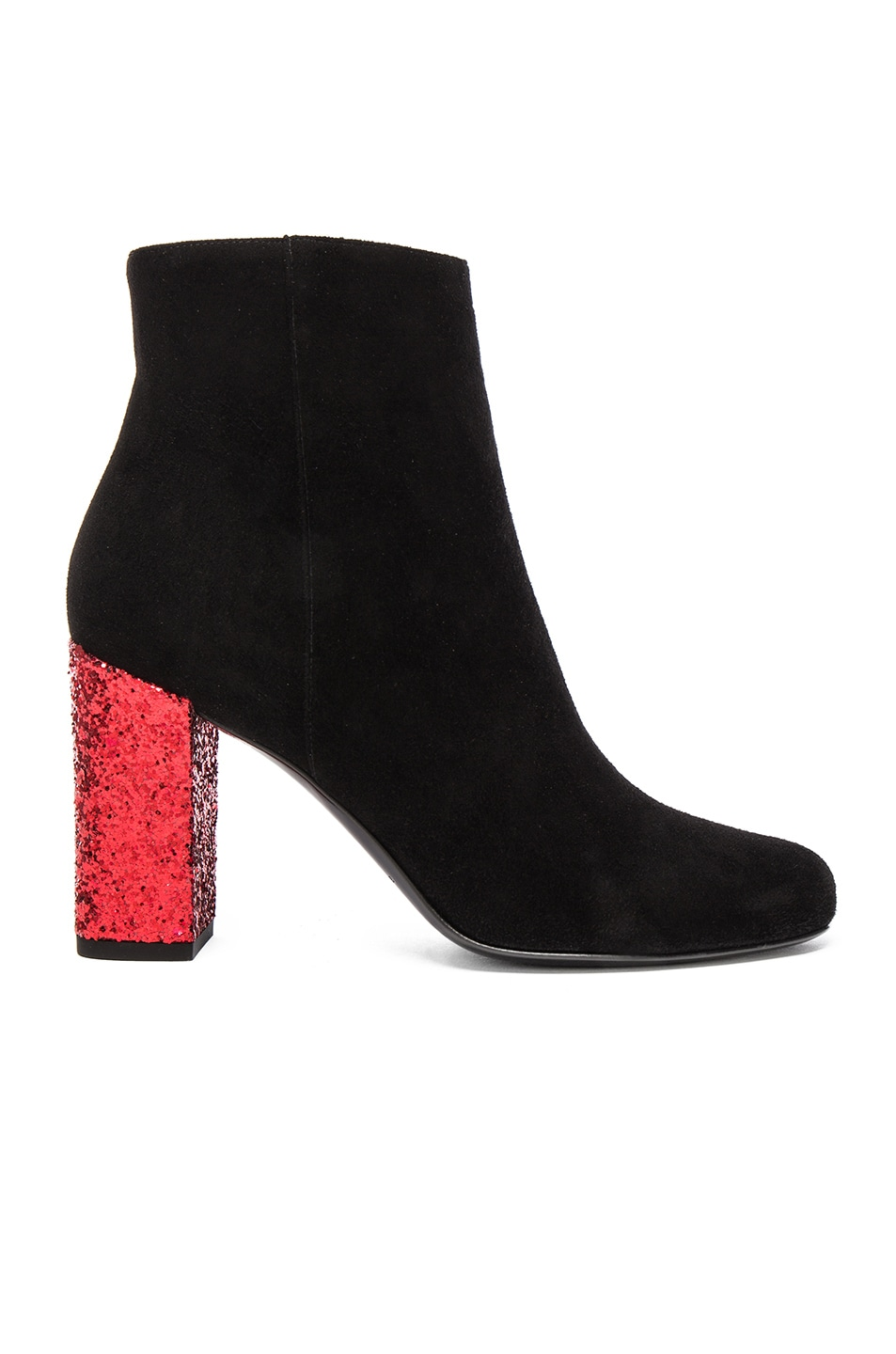 Image 1 of Saint Laurent Babies Suede & Glitter Boots in Black & Red