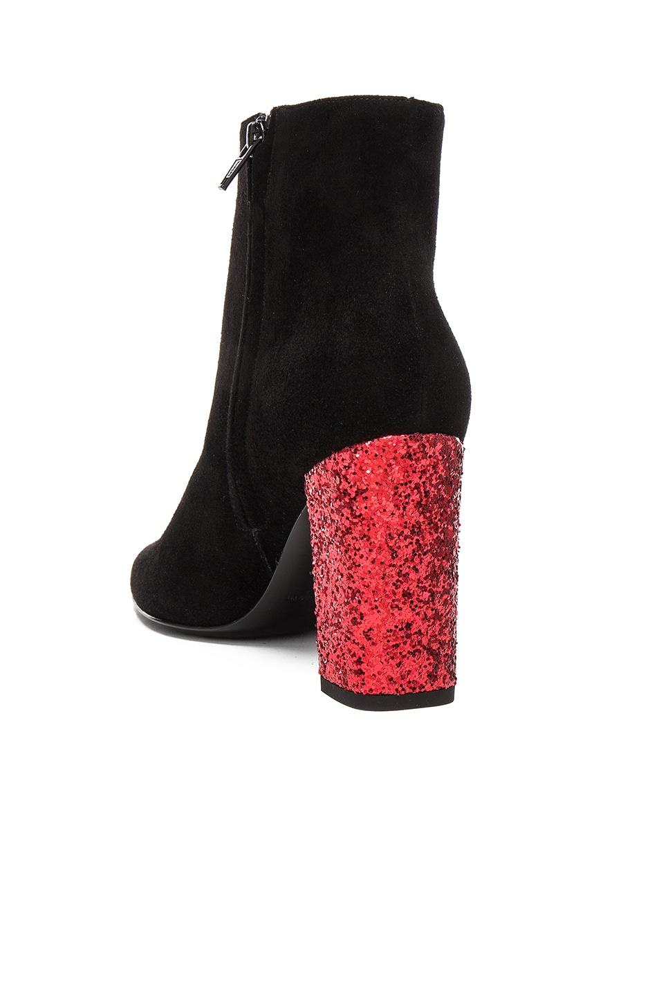 Image 3 of Saint Laurent Babies Suede & Glitter Boots in Black & Red