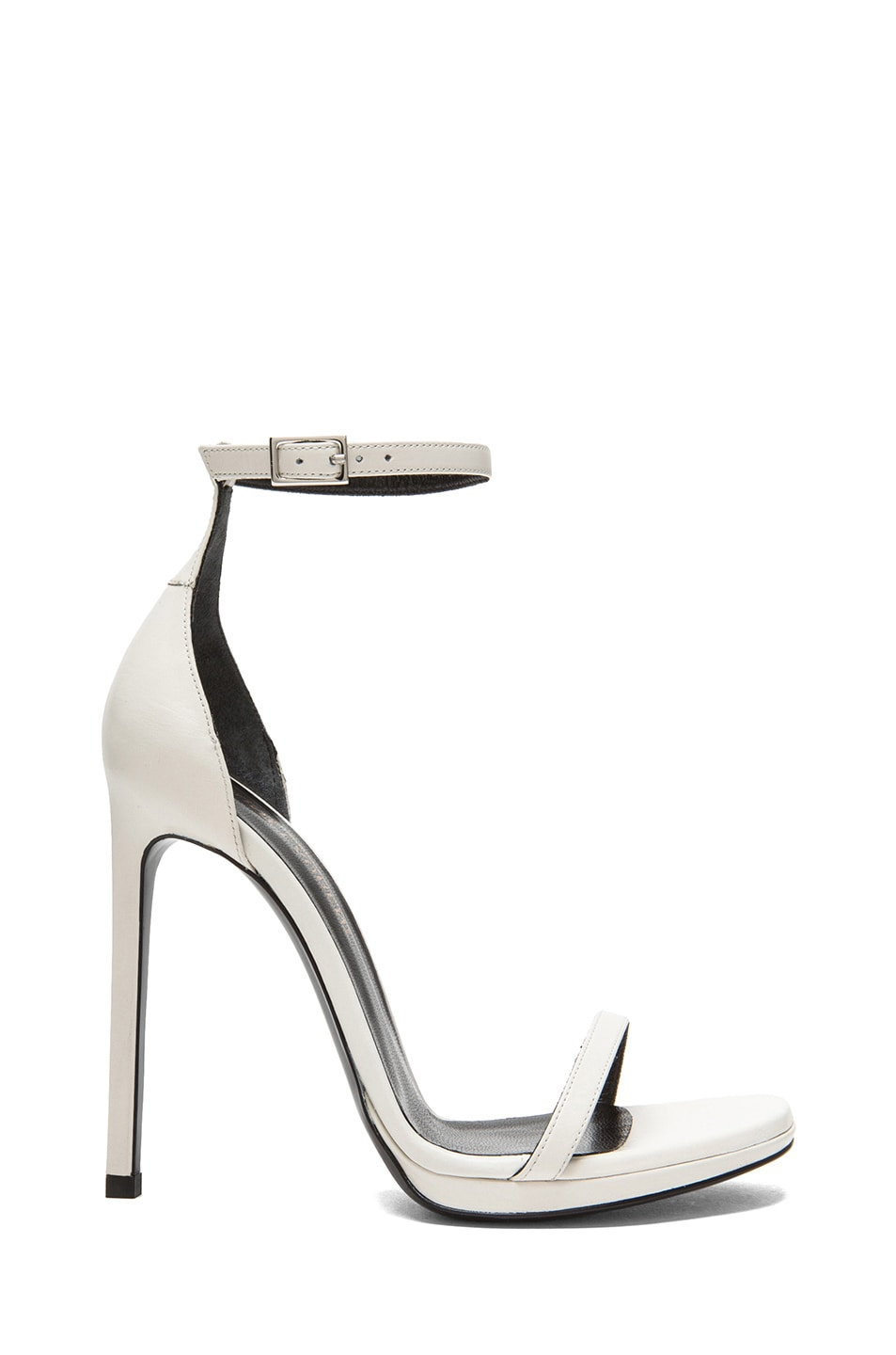 Image 1 of Saint Laurent Jane Leather Ankle Strap Sandals in White