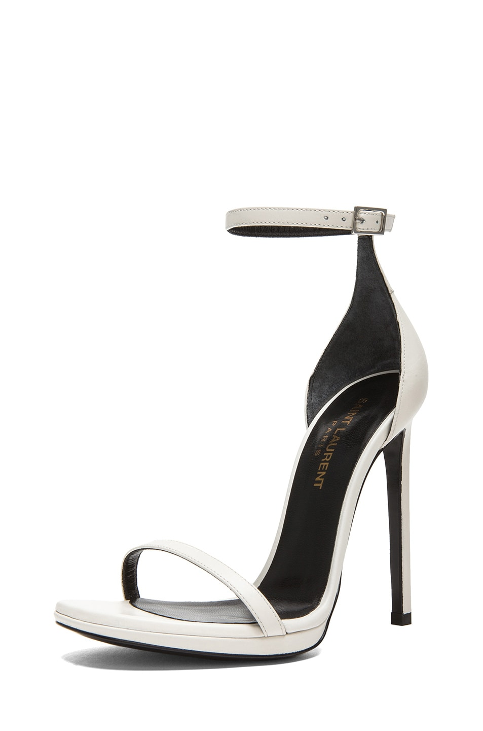 Image 2 of Saint Laurent Jane Leather Ankle Strap Sandals in White